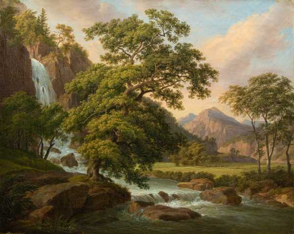 Mountain Valley with Waterfall